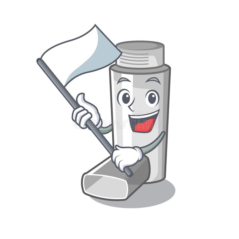 With flag asthma inhaler in the character bag. Vector illustration royalty free illustration