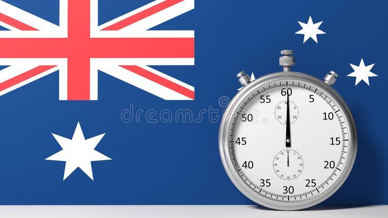 Flag of Australia. With chronometer vector illustration