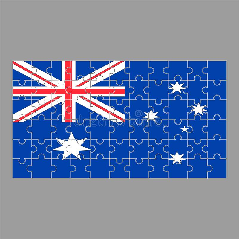 Flag of Australia from puzzles on a gray background. stock illustration