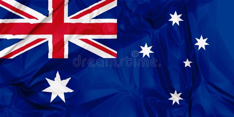 Flag of Australia. Waving flag of Australia, red blue white colors. 3d background vector illustration