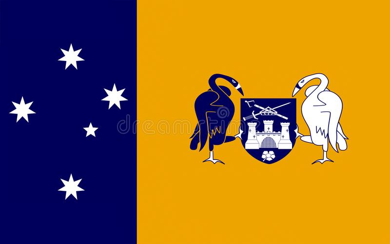 Flag of Australian Capital Territory. ACTis a territory in the south east of Australia, enclaved within New South Wales. It is the smaller of the two self stock illustration