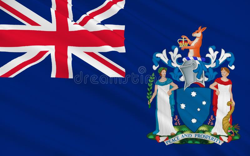 Flag of Australian Capital Territory. Flag of Victoria Vic is a state in the south-east of Australia. Most of its population is concentrated in the area royalty free illustration