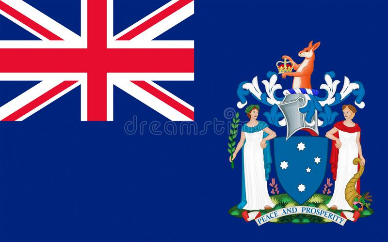 Flag of Australian Capital Territory. Flag of Victoria Vic is a state in the south-east of Australia. Most of its population is concentrated in the area vector illustration