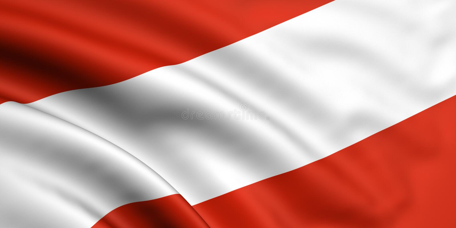 Flag Of Austria. 3d rendered and waving flag of austria