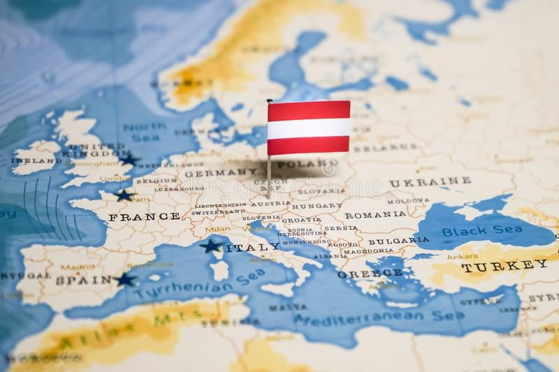 The Flag Of Austria In The World Map Stock Image - Image of ...