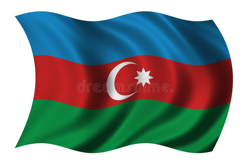 Flag of Azerbaijan. Waving in the wind stock illustration