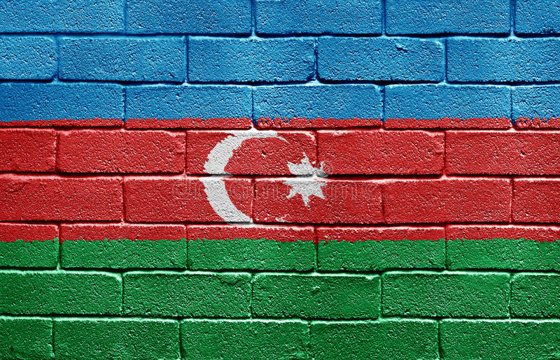 Flag Of Azerbaijan On Brick Wall Stock Photos