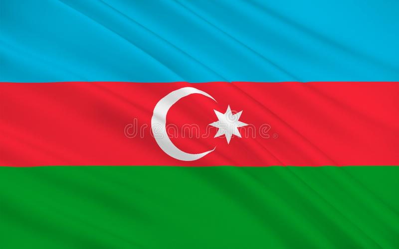 Flag of Azerbaijan. Officially the Republic of Azerbaijan is a country in the Transcaucasian region, situated at the crossroads of Southwest Asia and stock image