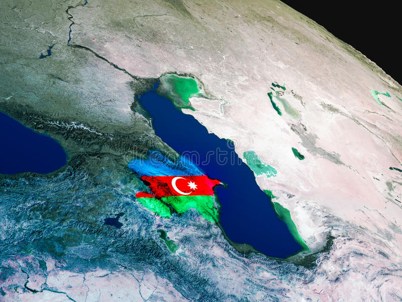Download Flag Of Azerbaijan From Space Stock Illustration - Image: 83721001