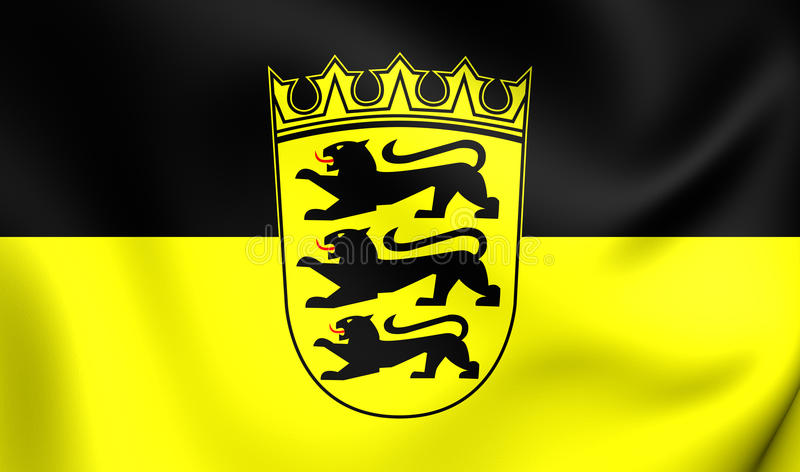 Flag of Baden-Wurttemberg, Germany. 3D Flag of Baden-Wurttemberg, Germany. Close Up stock illustration
