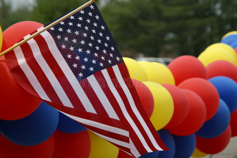 Flag & Balloons royalty free stock image