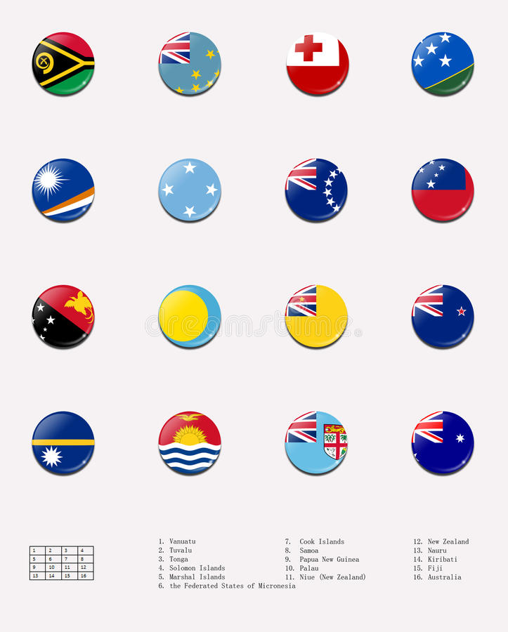 Flag Balls/stamps Of Oceanian Country Royalty Free Stock Photography