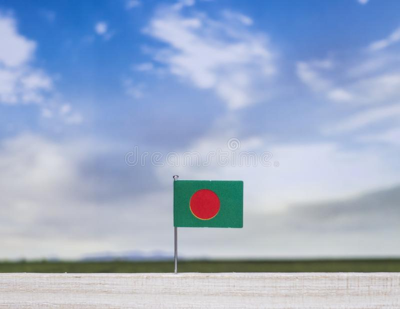 Flag of Bangladesh with vast meadow and blue sky behind it. royalty free stock photo