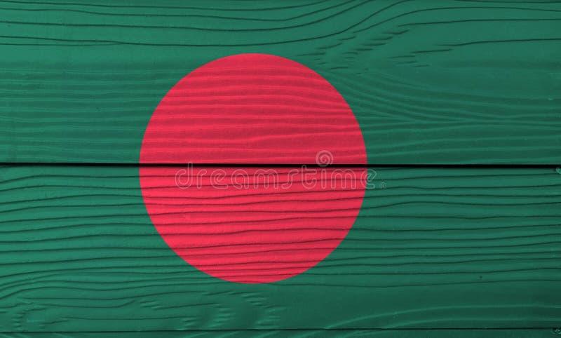 Flag of Bangladesh on wooden wall background. Grunge Bangladesh flag texture. stock image