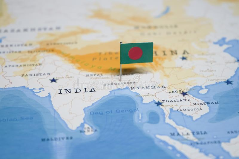 The Flag of bangladesh in the world map stock images