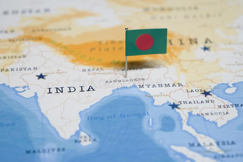 The Flag of bangladesh in the world map stock photos