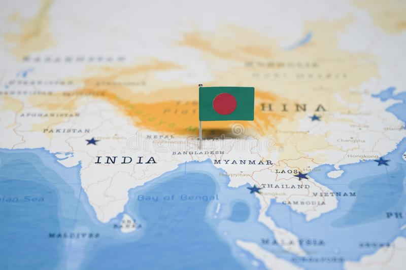The Flag of bangladesh in the world map royalty free stock image