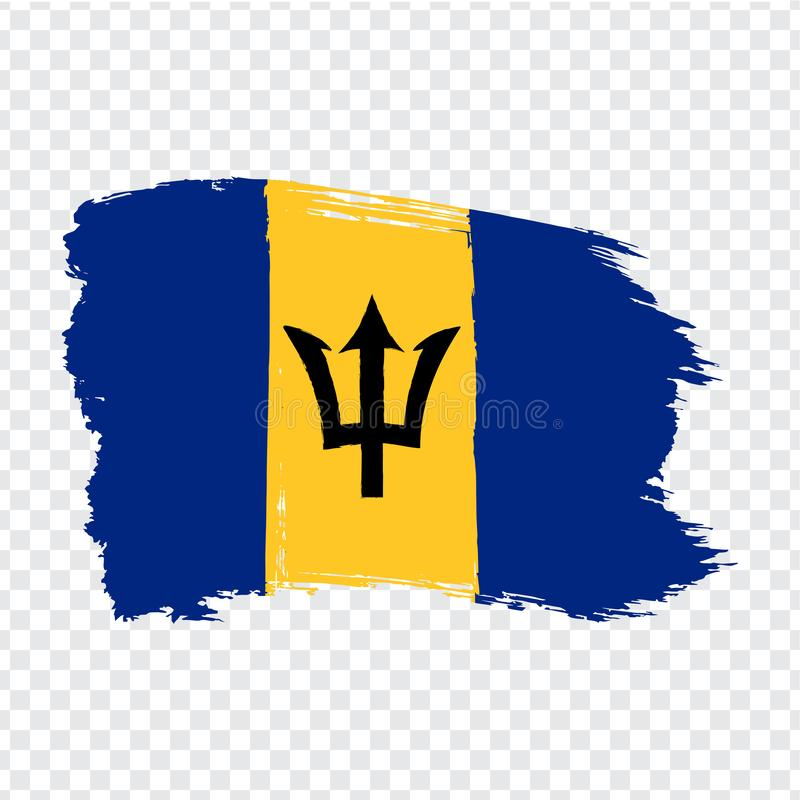 Flag Barbados from brush strokes. Flag Barbados on transparent background for your web site design, logo, app, UI. Stock vector.  EPS10 royalty free illustration