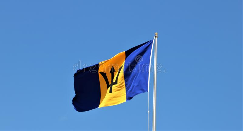 Flag of Barbados. It was officially adopted on 30 November 1966, the island`s first Independence Day. It consists of a triband of two bands of ultramarine stock photos
