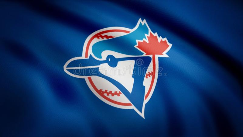 Flag of the Baseball Toronto Blue Jays, american professional baseball team logo, seamless loop. Editorial animation.  royalty free illustration