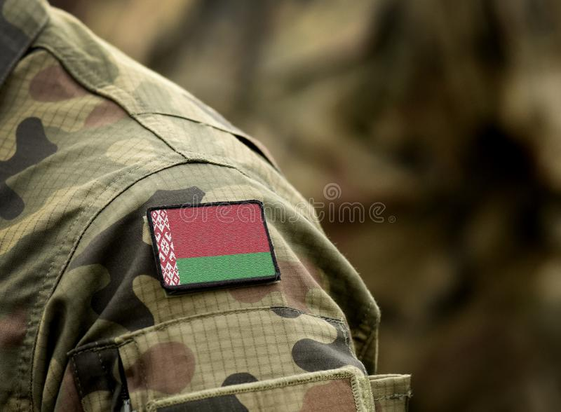 Flag of Belarus on military uniform. Army, troops, soldiers. Collage.  royalty free stock photos