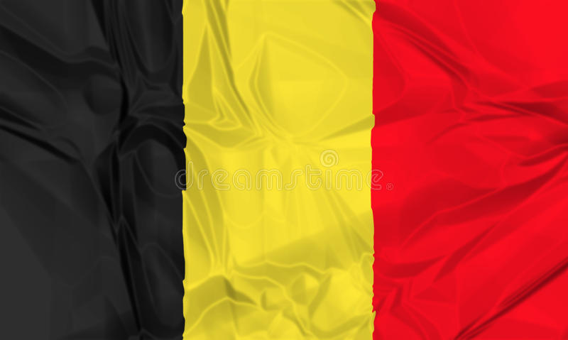 Flag of Belgium waving. The national waving flag of Belgium. black, yellow and red, 3d background stock illustration