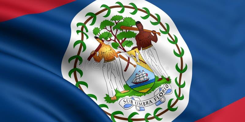 Flag Of Belize. 3d rendered flag of belize stock illustration