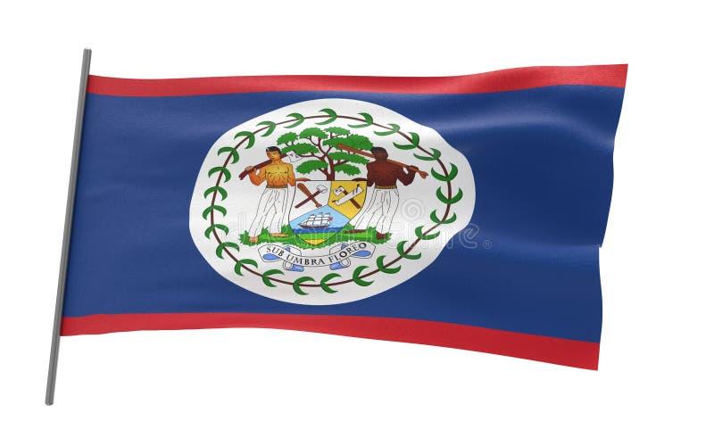 Flag of Belize. Illustration of a waving flag of Belize stock illustration