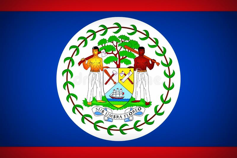 Flag of of Belize. National flag of the country of Belize stock illustration