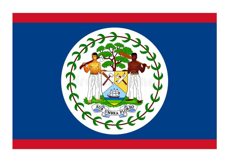 Flag of Belize. Vector format ai aviable blue red white green people araldic royalty free illustration