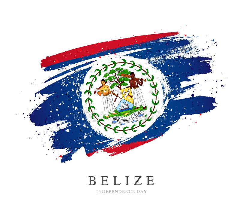 Flag of Belize. Vector illustration on a white background. Brush strokes are drawn by hand. Independence Day vector illustration