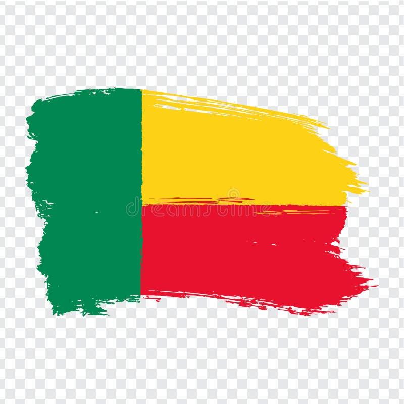Flag Benin from brush strokes. Flag Republic of Benin on transparent background for your web site design, logo, app, UI. Africa. Stock vector.  EPS10 royalty free illustration