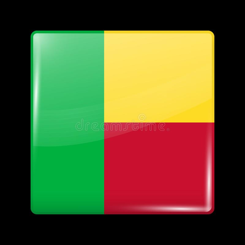 Flag of Benin. Glossy Icon Square Shape. Vector vector illustration