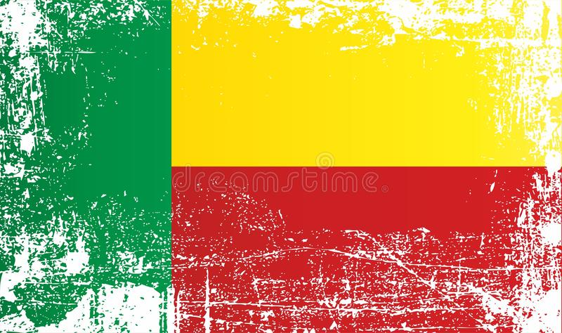Flag of Benin. West Africa, Wrinkled dirty spots. Can be used for design, stickers, souvenirs stock illustration
