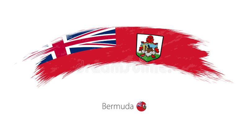 Flag of Bermuda in rounded grunge brush stroke. Vector illustration vector illustration