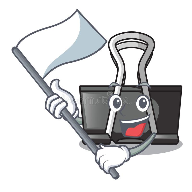 With flag binder clip for charcter on documents. Vector illustration royalty free illustration