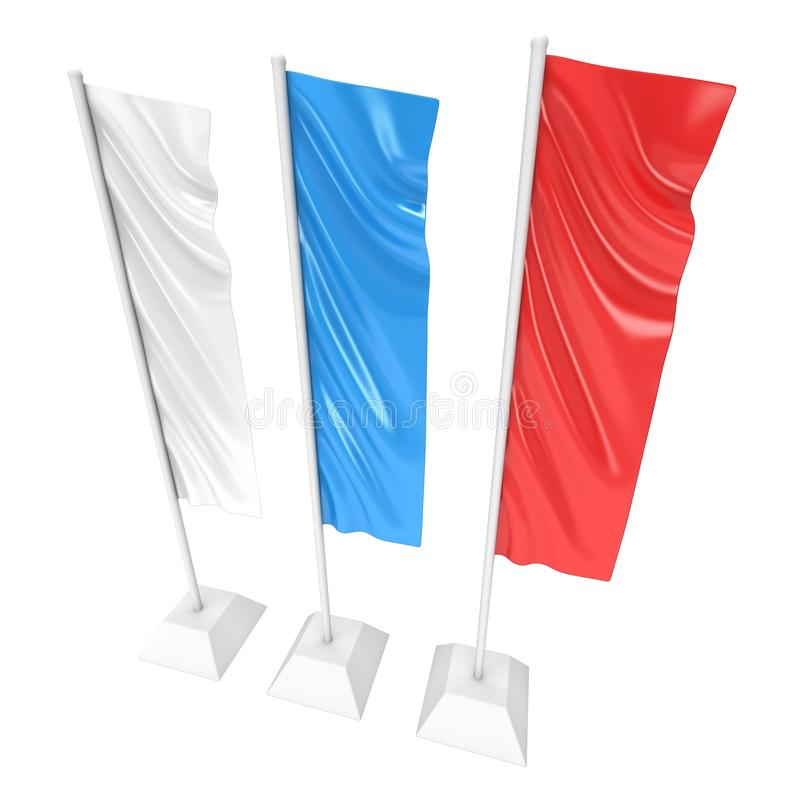 Flag Blank Expo Banner Stand. 3D royalty free illustration