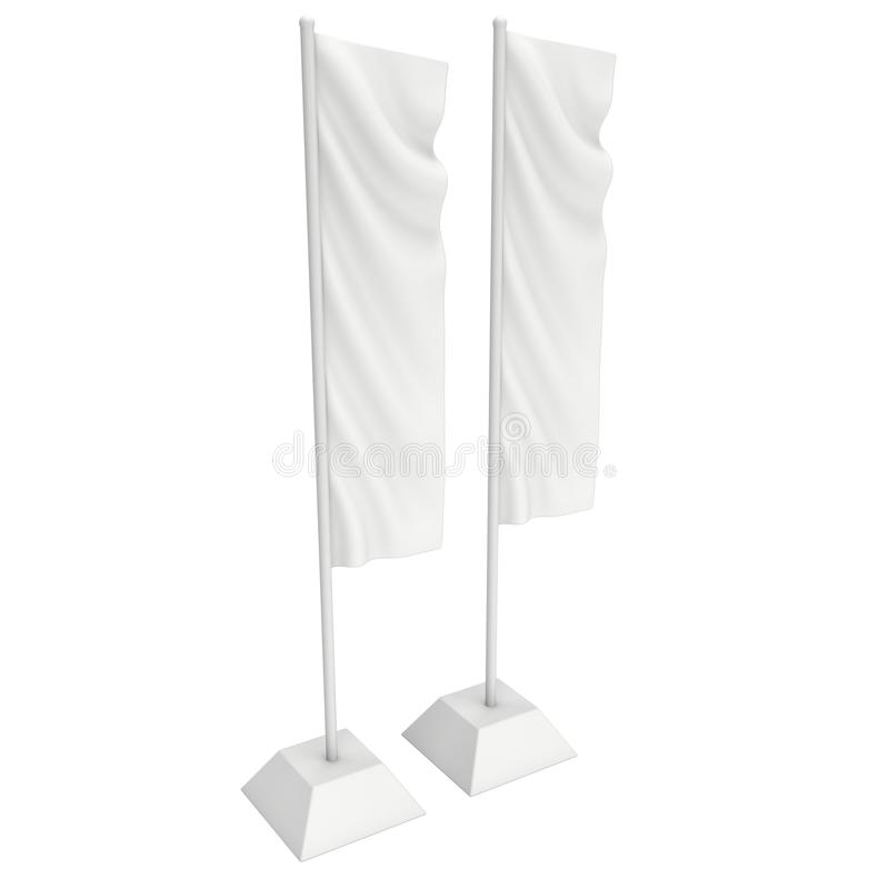 Flag Blank Expo Banner Stand. 3D. Flag Blank Expo Banner Stand. Trade show booth. 3d render illustration isolated on white background. Template mockup for your stock illustration