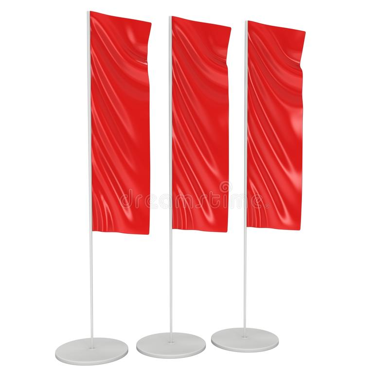 Flag Blank Red Expo Banner Stand. 3D royalty free illustration