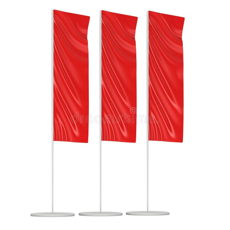 Flag Blank Red Expo Banner Stand. vector illustration