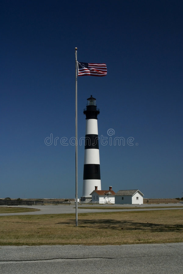 Flag Bodie Island Lighthouse stock photos