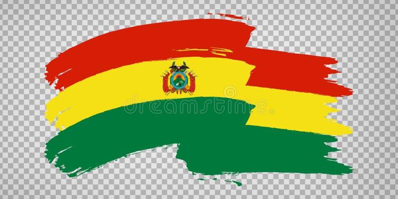 Flag of Bolivia, brush stroke background.  Waving Flag Plurinational State of Bolivia on tranparent backrgound for your web site d. Esign, logo, app, UI.  EPS10 vector illustration