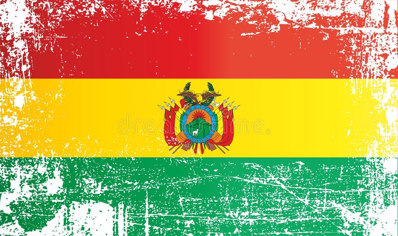 Flag of Bolivia, Plurinational State of Bolivia. Wrinkled dirty spots. royalty free illustration