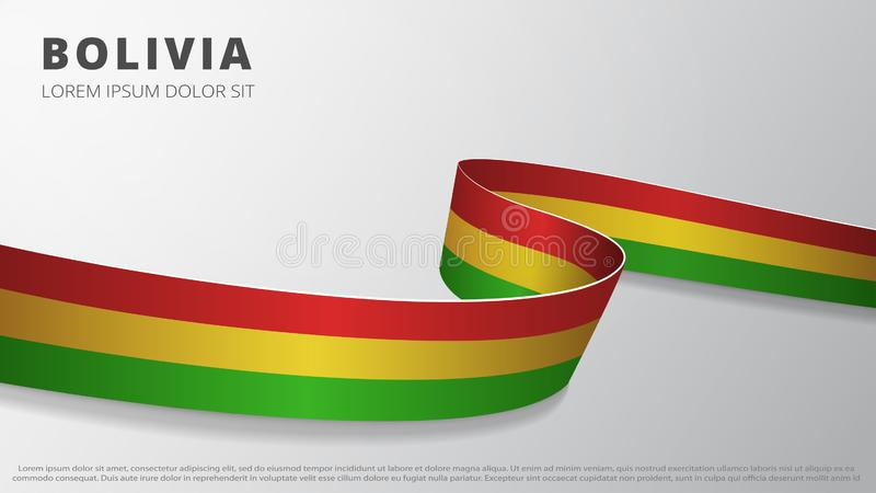 Flag of Bolivian. Realistic wavy ribbon with Bolivian flag colors. Graphic and web design template. National symbol stock illustration