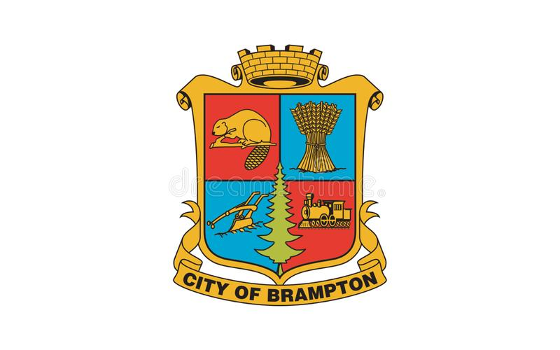 Flag of Brampton Ontario, Canada. Flag of Brampton is a city in Southern Ontario, Canada. It is a suburban city in the Greater Toronto Area GTA and the seat of vector illustration