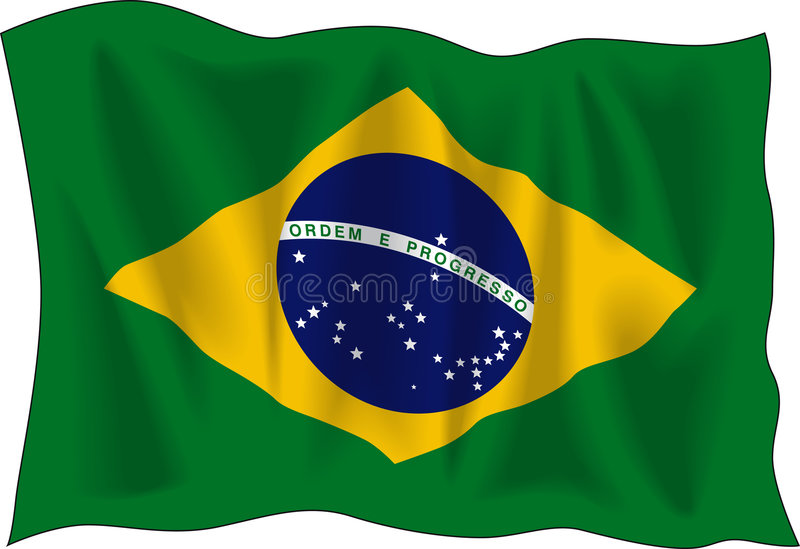 Flag of Brasil. Waving flag of Brazil isolated on white