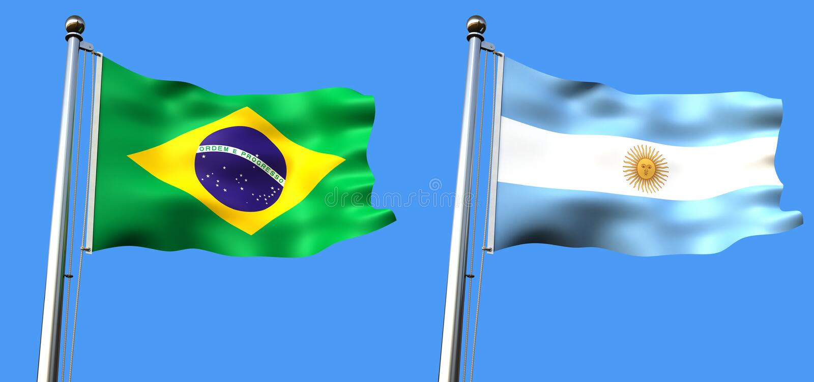 Download Flag Of Brazil And Argentine Stock Illustration - Image: 14301739