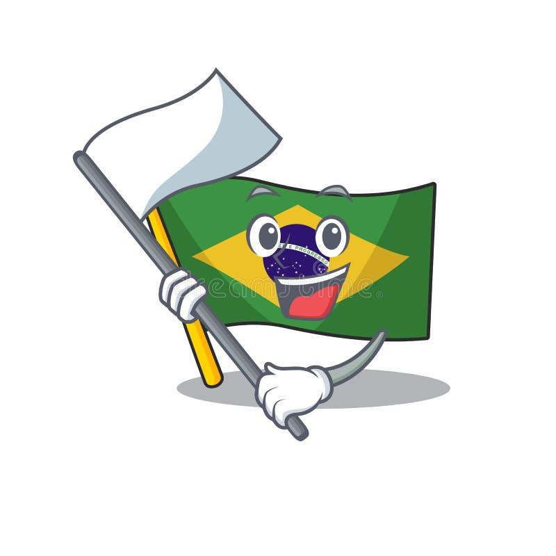 With flag brazil flag kept in mascot drawer. Illustration vector royalty free illustration