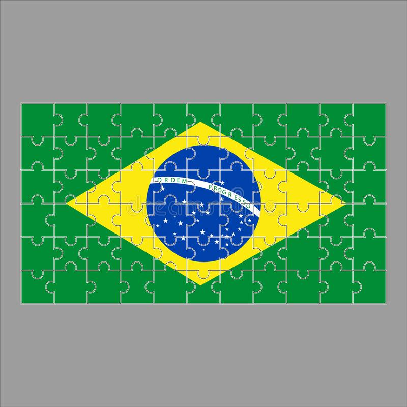 Flag of Brazil puzzle on gray background. vector illustration