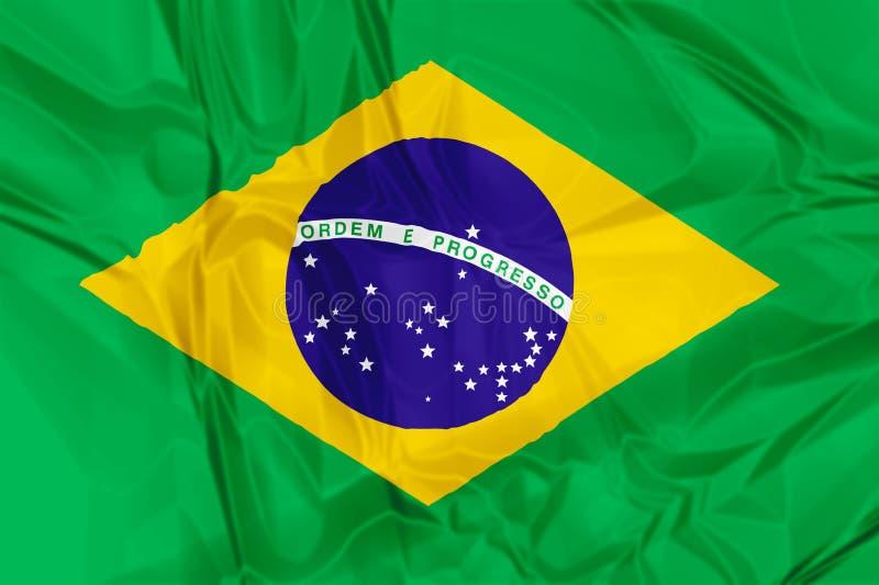 Flag of Brazil. Waving flag of Brazil, green blue white colors. 3d background stock illustration